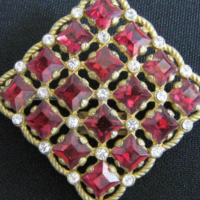 "Vintage Signed ""STERLING BUTTON CO. N.Y."" Rhinestone Brooch"