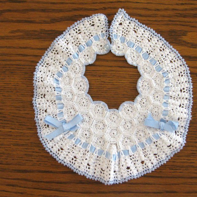 Vintage Blue & White Crochet Baby Collar Bib