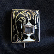Rare Antique Georgian 14K Gold, Enamel & Glass Mourning Pin