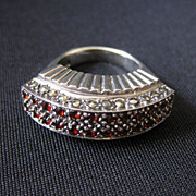 Vintage Signed Art Deco Sterling Silver, Garnet & Marcasite Ring