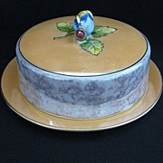 Vintage Signed Noritake Hand Painted Lustre Ware Covered Butter Dish
