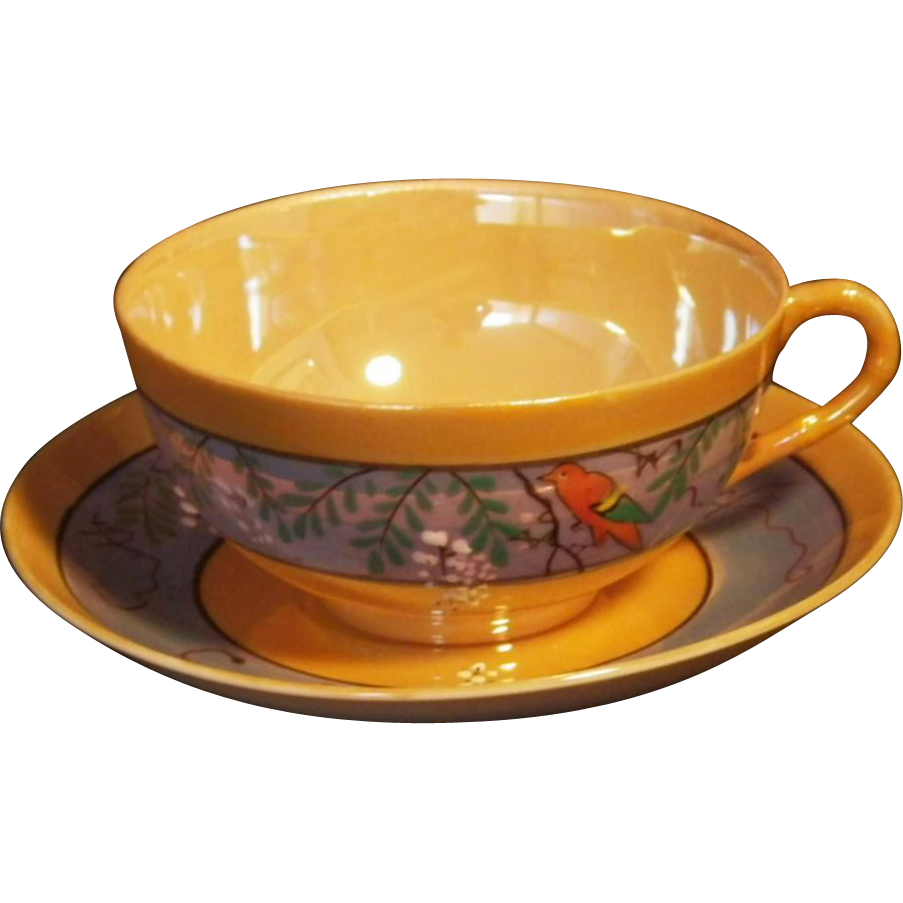 Vintage Hand Painted Japan Luster Cup & Saucer Set