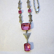 Vintage Art Deco Silvertone & Pink Glass Necklace