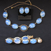 Vintage Sterling Silver and Opaline Glass Parure