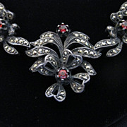 Antique Rare Spessartite Garnet, Sterling Silver & Marcasite Necklace