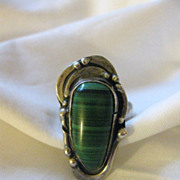 Vintage Signed Sterling Silver & Malachite Ring