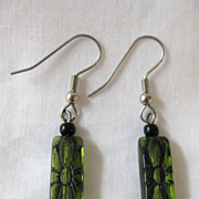 Vintage Green Glass Pierced Earrings