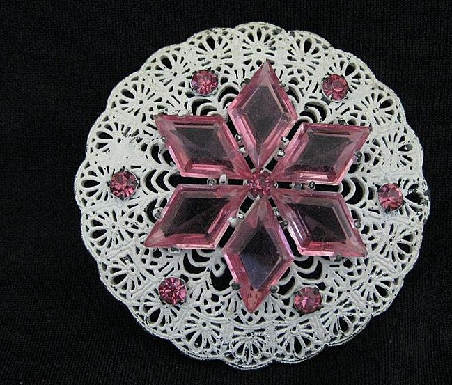 Vintage Pink & White Snowflake or Flower Filigree Brooch