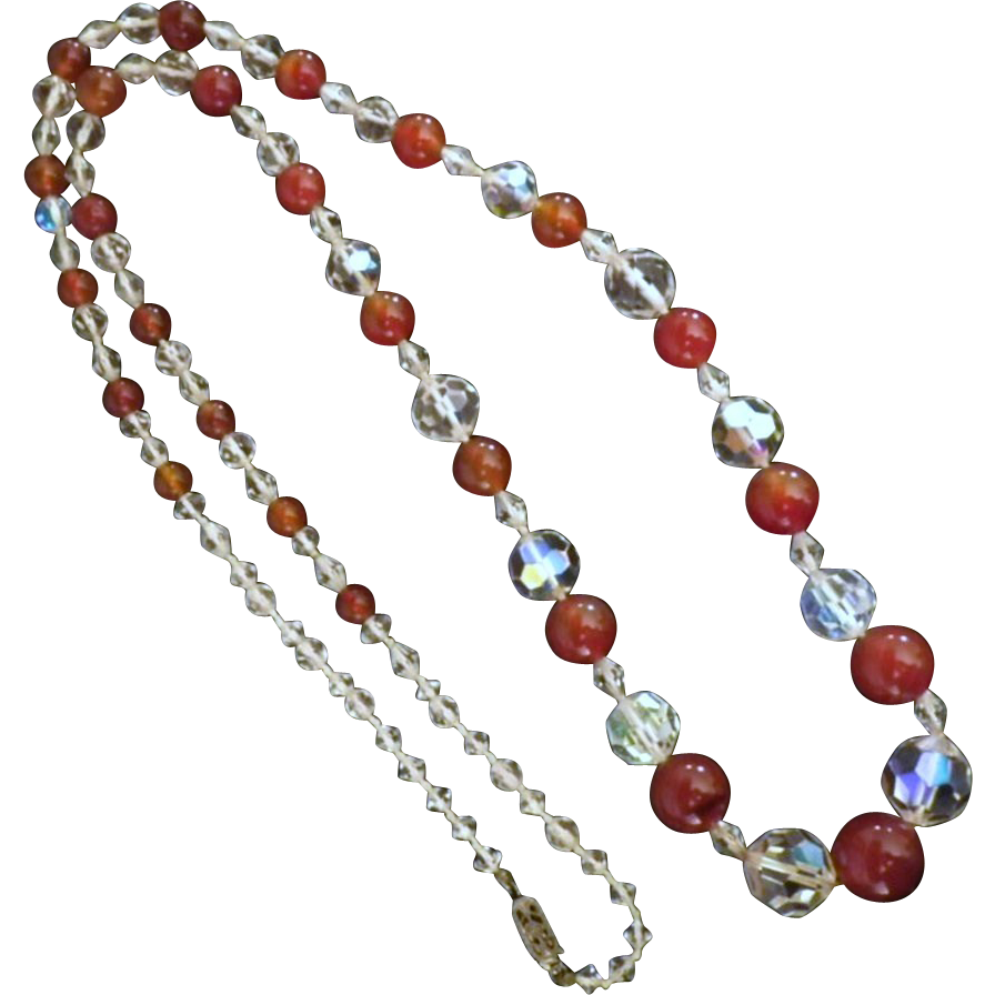 Vintage Carnelian and Crystal Bead Necklace