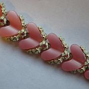 Vintage Signed BSK Thermoset & Enamel Heart Bracelet