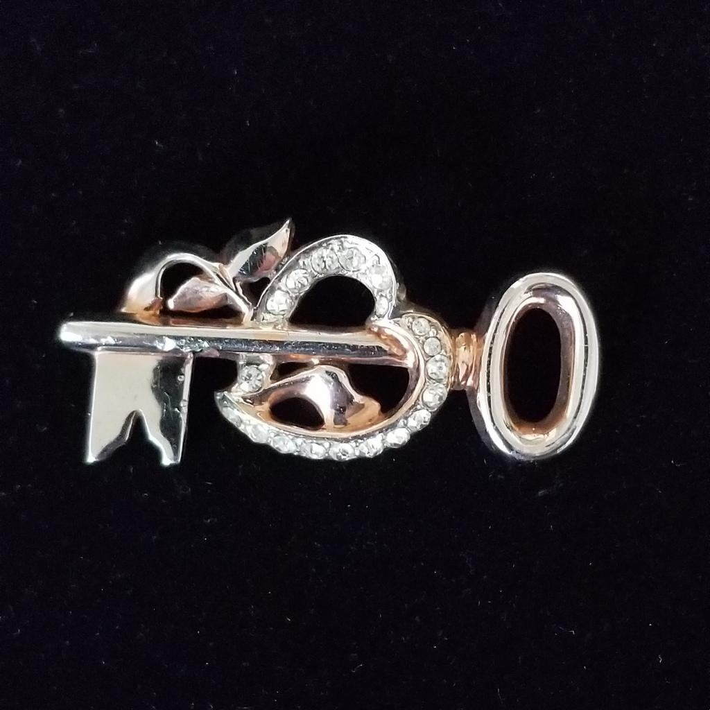 Vintage Signed Sterling Silver Vermeil Key and Heart Brooch
