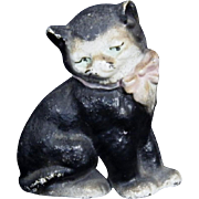 Vintage Hubley Cast Iron Black Cat Original Paint Paperweight