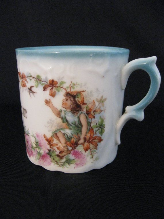 "Vintage Porcelain ""Remember Me"" Motto Mug"