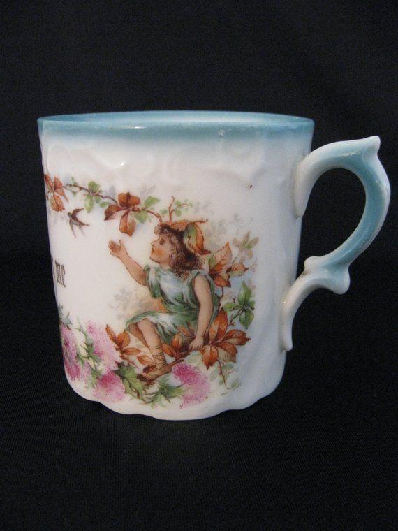 """Vintage Porcelain """"Remember Me"""" Motto Mug"""
