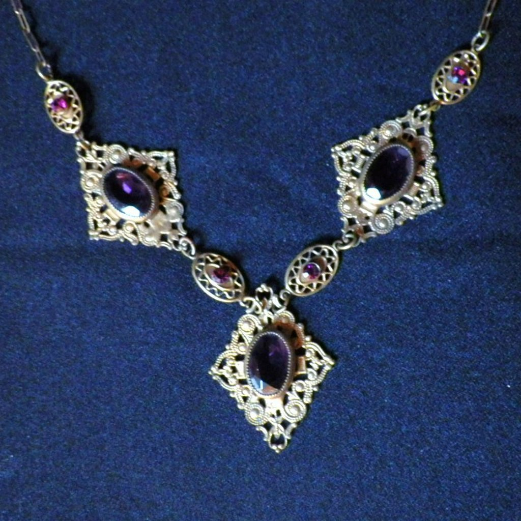 Vintage Brass Filigree & Amethyst Glass and Rhinestone Necklace