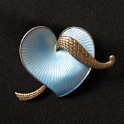 Vintage Signed Albert Scharning Norway Sterling Silver & Guilloche Enamel Heart Brooch
