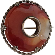 Antique Sterling Silver and Agate Brooch