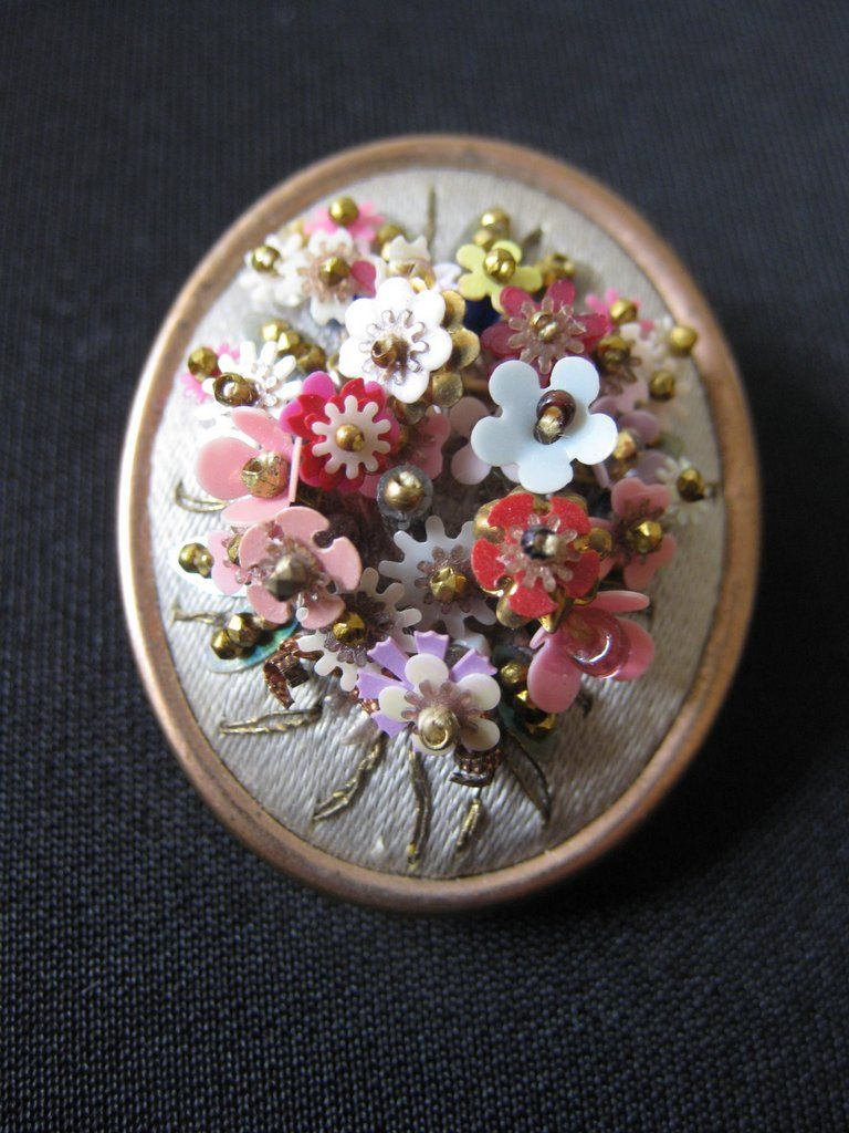 Antique Hand Wired Flower Amp Bead Brooch On Silk From