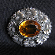 Antique Signed 800 Silver Flower Brooch with Amber or Topaz Glass Stone