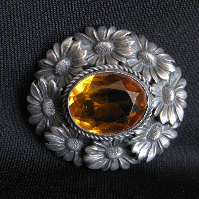Vintage Signed 800 Silver Flower Brooch with Amber Glass Stone