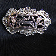 Antique Rose Gold & Sterling Silver Brooch