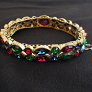 Vintage Czech Bangle Bracelet with Rhinestones