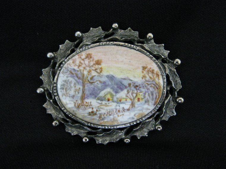 Vintage Signed Hand Painted Winter Scene Holly Brooch