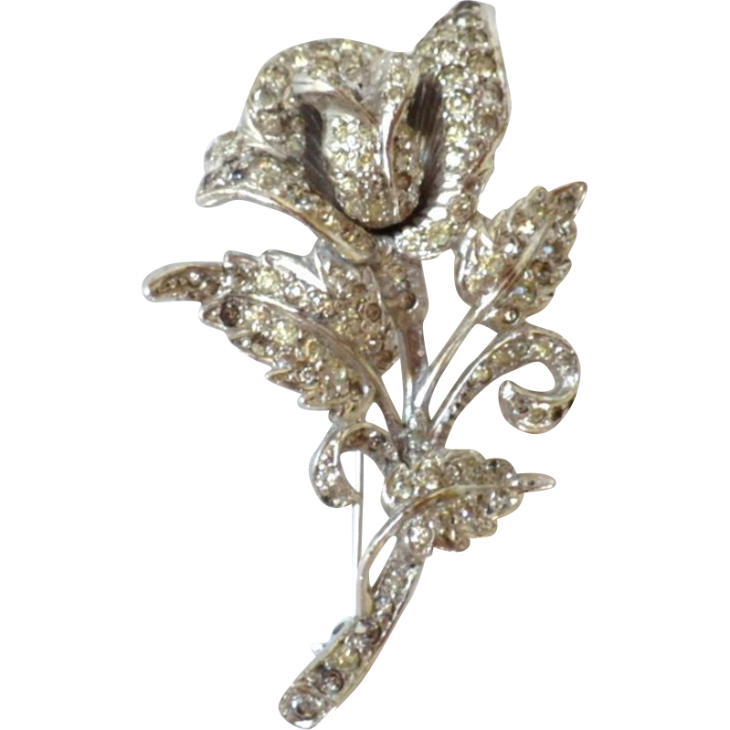 Vintage Rhodium Plated Rhinestone Rose Flower Brooch