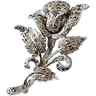 Exquisite Vintage Rhinestone Rose Brooch