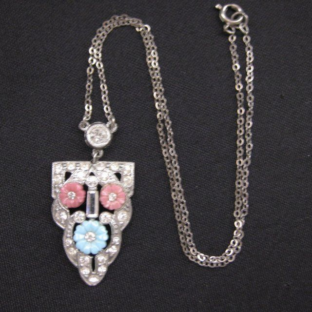 Vintage Art Deco Era Rhinestone & Shoe Button Glass Pendant Necklace