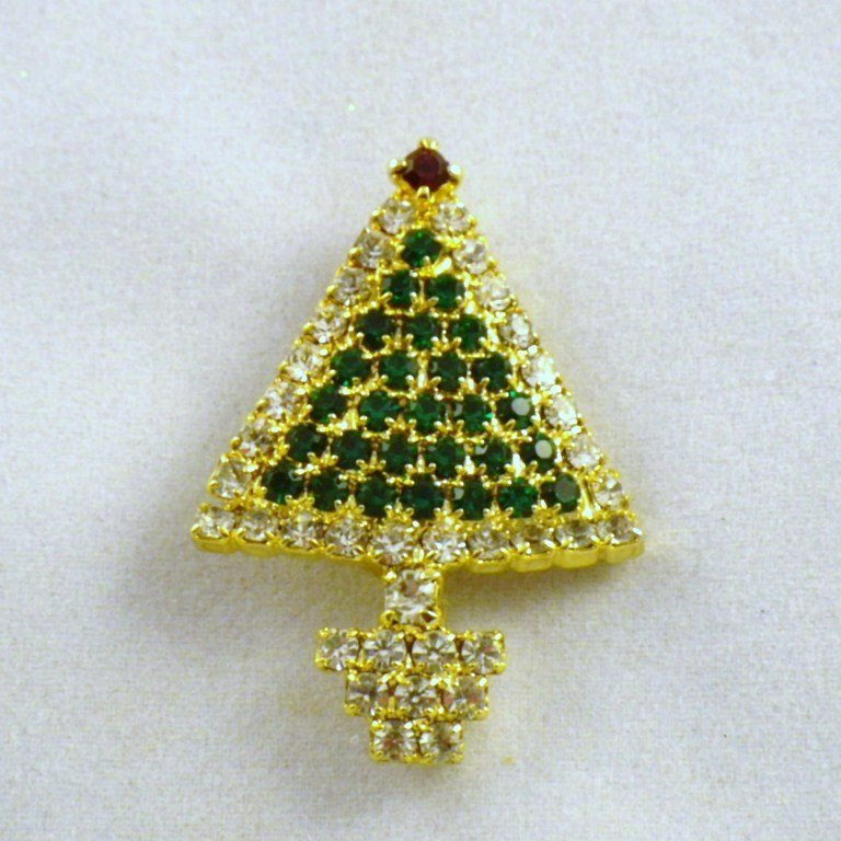 Vintage Christmas Tree Brooch with Rhinestones