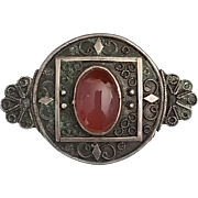 Vintage Signed 935 Silver and Carnelian Palestine Brooch
