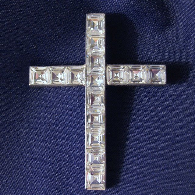Antique Signed Sterling Silver & Crystal Cross Brooch or Pendant