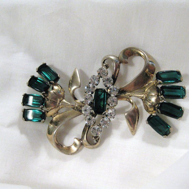 Vintage Signed Sterling Vermeil & Rhinestone Art Deco Flower Brooch
