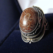 Vintage Signed STERLING Silver & Oregon Jasper Ring