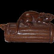 Vintage Hand Carved Wood Rat Netsuke