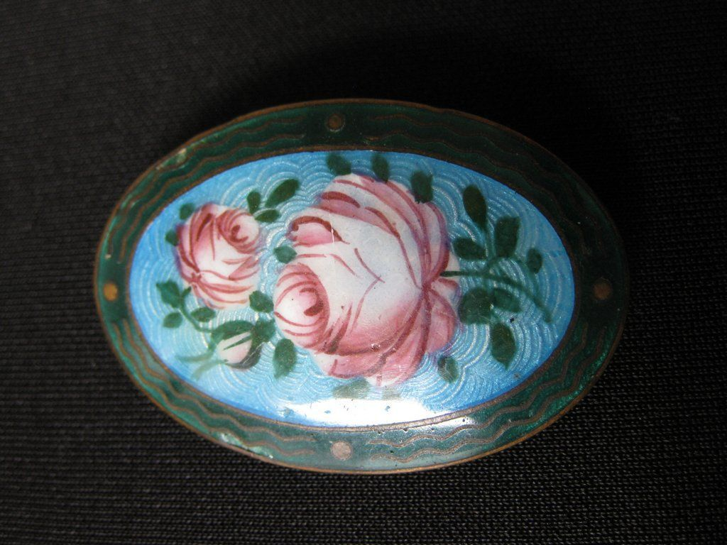 Antique Signed Czechoslovakia Hand Painted Enamel Rose Brooch
