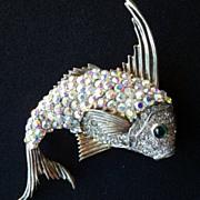 Vintage Signed CINER Sterling Silver Fish Brooch