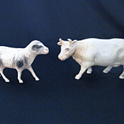 Set of Two Vintage Celluloid Farm Animals