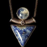 Vintage Artisan Sterling Silver, Moonstone & Sodalite Pendant Necklace