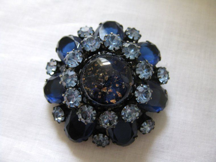 Vintage Signed Original by Robert Foil Glass & Rhinestone Brooch