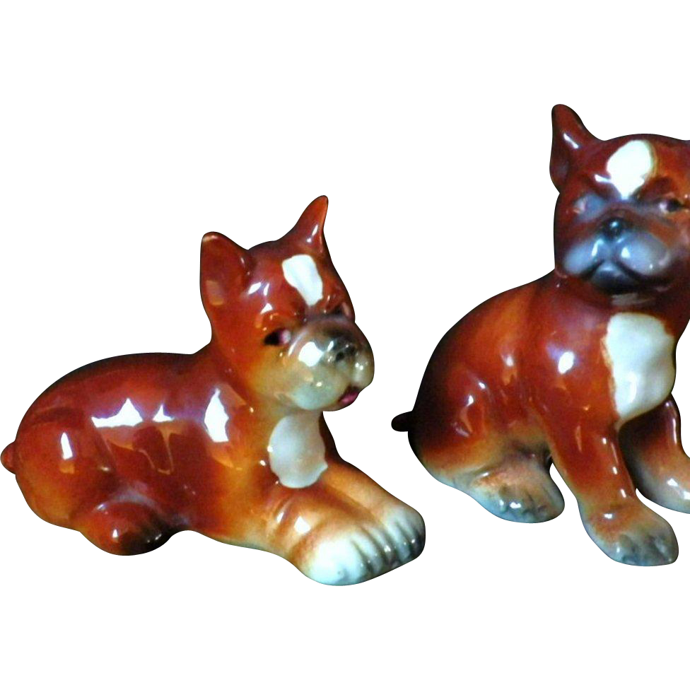 Vintage Pair of Early Goebel Boxer Dog Figurines