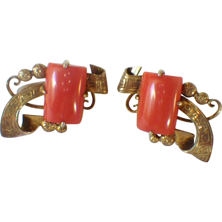 Vintage Silver Vermeil & Coral Earrings