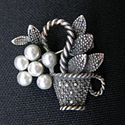 Vintage Sterling Silver,  Pearl and Marcasite Basket Pin