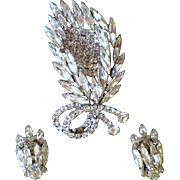"Vintage Signed ""Continental"" Demi Parure - Rhinestone Brooch and Earrings"