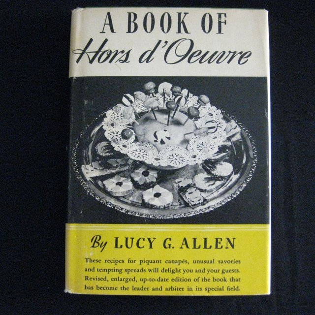 "Rare Vintage Hard Bound Cookbook - ""A Book of Hors d' Oeuvre"""
