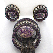 Vintage Foil Glass & Rhinestone Tassel Brooch & Earrings