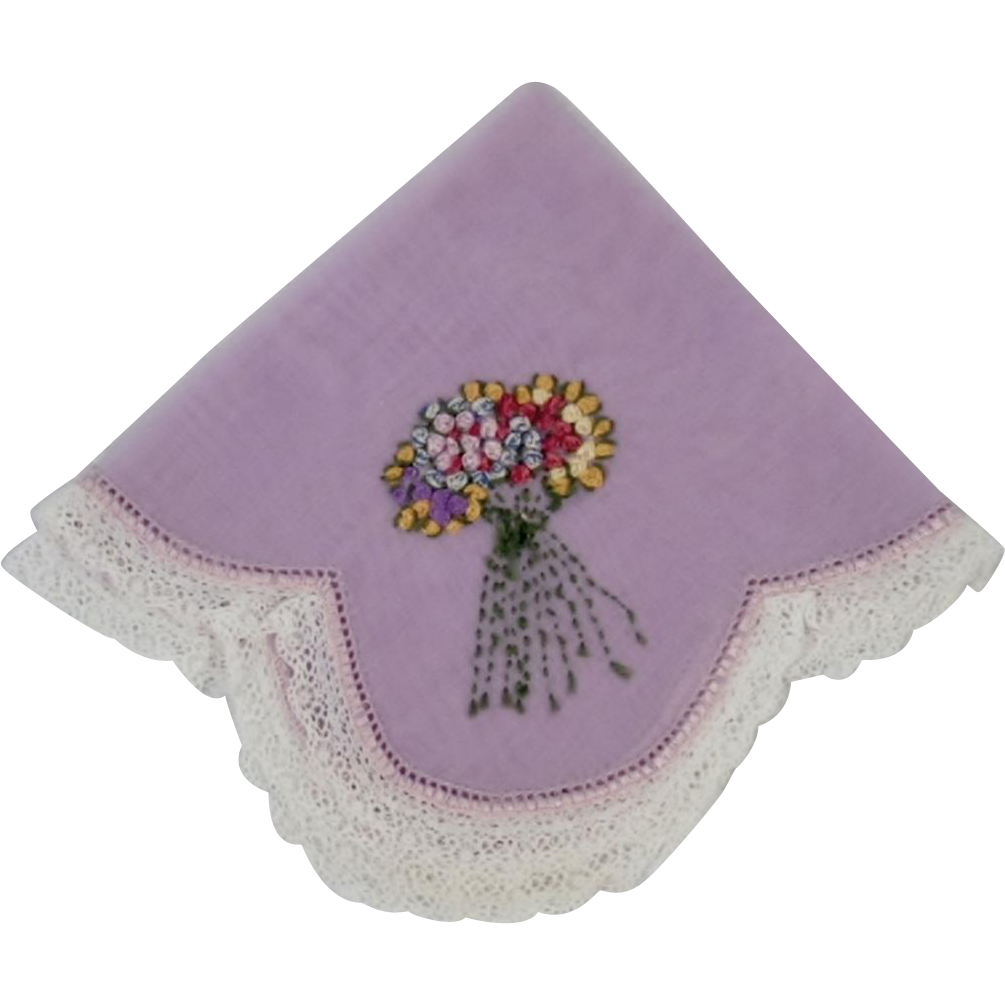 Vintage Hand Embroidered Nosegay Handkerchief