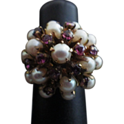 Vintage 14K Gold, Garnet & Pearl Princess Ring