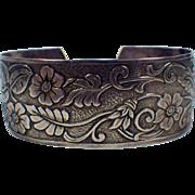 Vintage Signed Sterling Silver Floral Design Cuff Bracelet
